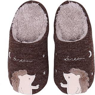 Cute Animal House Slippers Hedgehog Family Indoor Slippers Waterproof Sole Fuzzy Bedroom Slippers for Kids