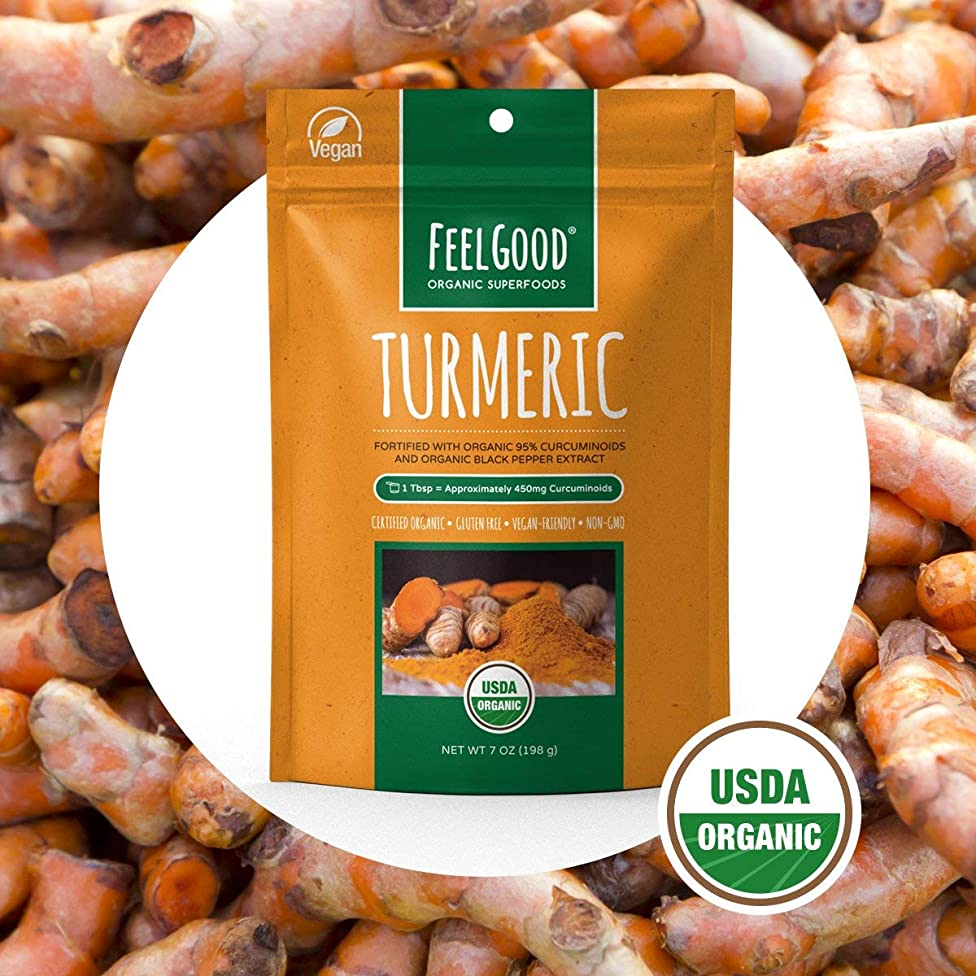 FEEL GOOD Premium Organic Fortified Turmeric Root Powder (7 oz) - With Organic 95% Curcuminoids And Black Pepper Extract - USDA Certified Anti Inflammatory Supplement That Helps The Immune System