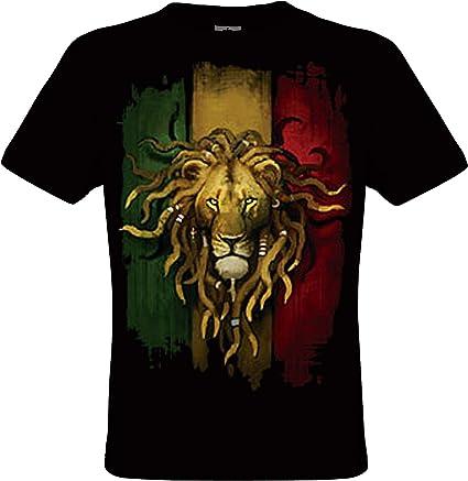 DarkArt-Designs Rasta Lion - Camiseta León para hombres y mujeres - Motivo de animales Reggae Estilo de vida T-Shirt regular fit