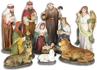 Figurines de Cr/èche Moderne 11-pi/èces Aspect Bois pour 9cm Figurines Santon