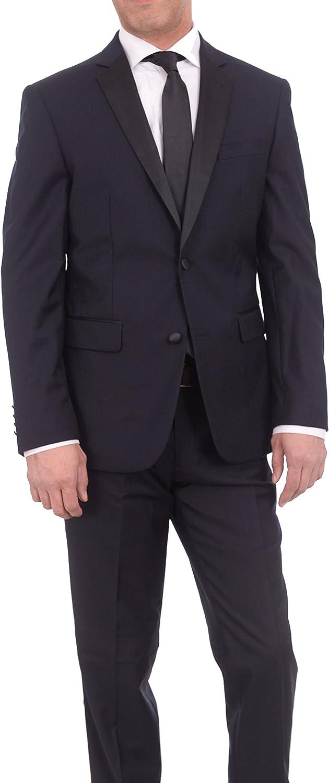 Braveman Slim Fit Solid Navy Blue Two Button Tuxedo Suit with Black Satin Lapel