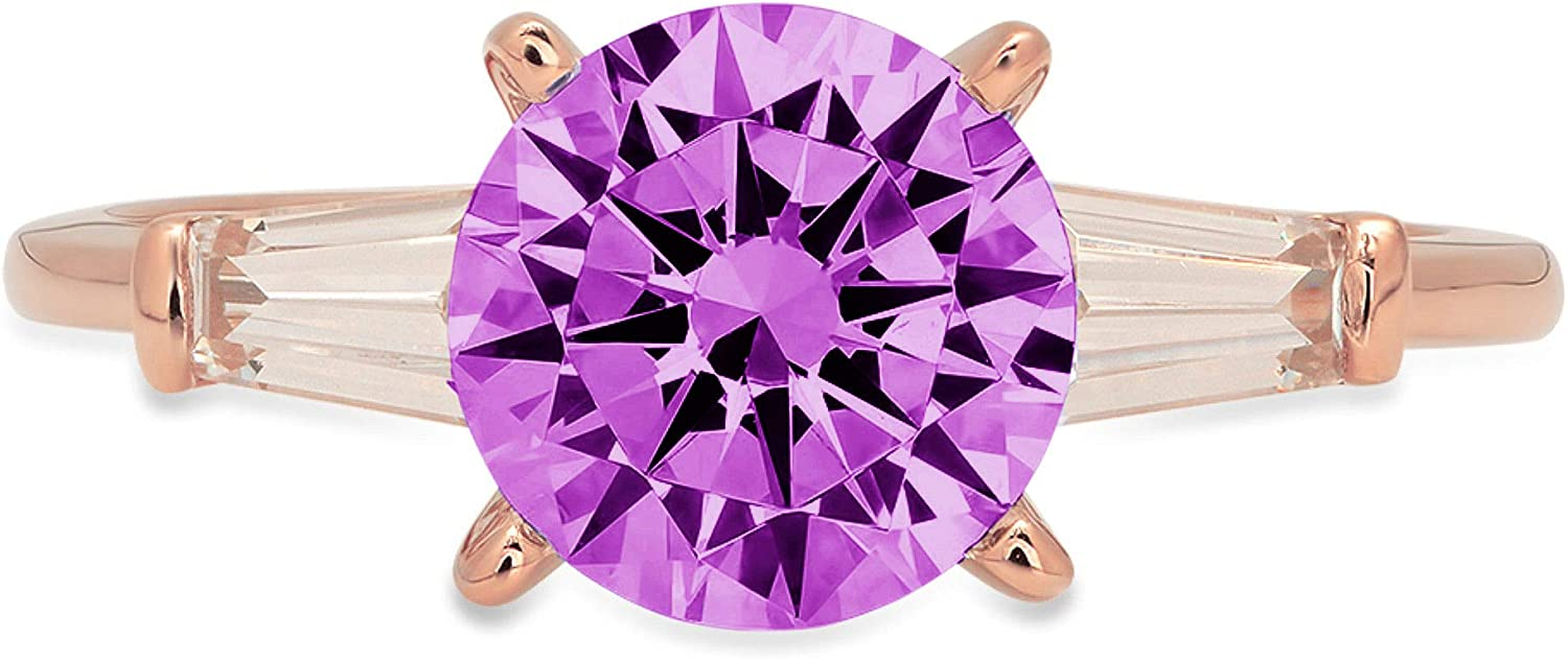 Clara Pucci 2.1 ct Round Baguette stone Solitaire Courier shipping free Cut mart 3 Stunning