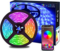 Bluetooth LED Strip Lights, ALED LIGHT 5050 16.4 ft/5 Meter 150 LED Stripes Lights Smart-Phone Controlled Waterproof RGB L...