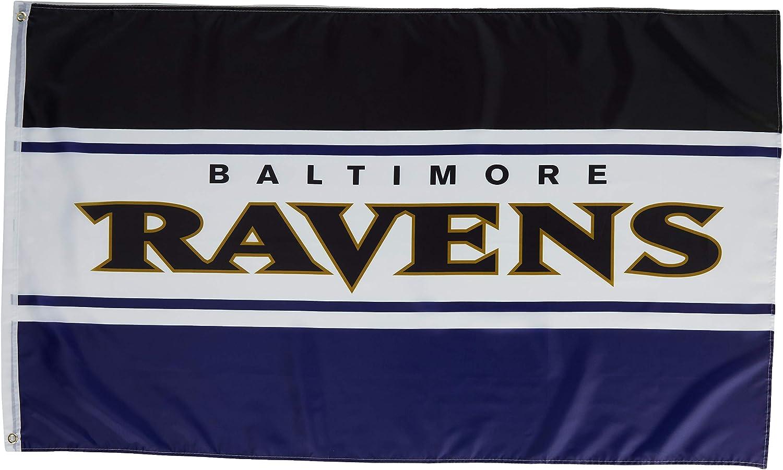 NFL Baltimore Ravens Unisex Double Sided 3' x 5' Team Logo Horizontal Flag, Horizontal 3' x 5', One Size