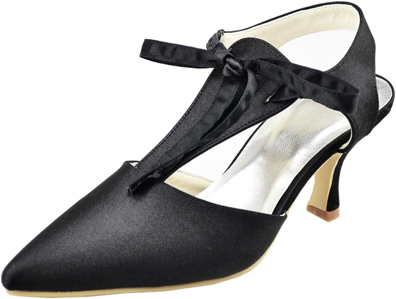 Minishion GYAYL398 Womens Mid Heel Satin Evening Party shoes Bridal Wedding T-Strap Pumps