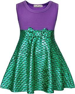 HenzWorld Little Girls Dresses Outfits Costume Mermaid Princess Birthday Party Cosplay Headband Kids 1-8 Years