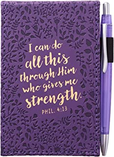 I Can Do All This Through Him LuxLeather Pocket Notepad With Pen, Purple