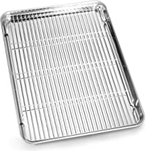 Bastwe Cookie Sheet and Cooling Rack Set, 16 inch Stainless Steel Baking Pan with a Rack, Professional Bakeware, Healthy &...