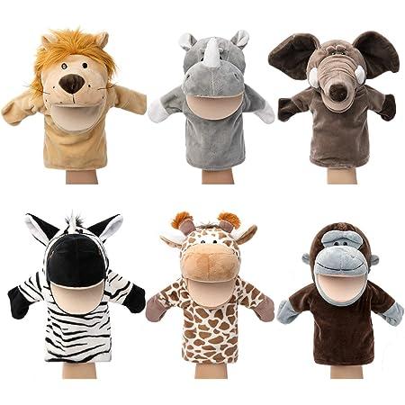 Marionnettes à main pour animaux Faune avec bouche ouverte en peluche Jouets à faire semblant Amis du zoo Parfait pour la narration, l'enseignement, l'éducation préscolaire, le jeu de rôle (6 pièces)