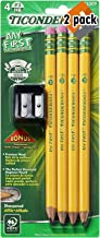 TICONDEROGA My First Pencils, Wood-Cased #2 HB Soft, Pre-Sharpened with Eraser, Includes Bonus Sharpener, Yellow, 2 Pack o...