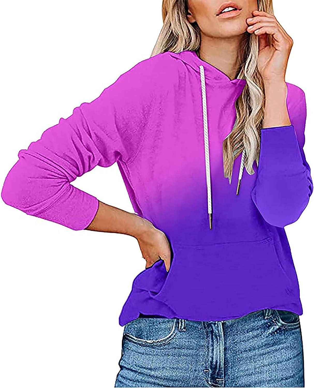 Women's Hoodie Tops Gradient Print Pullover Sweatshirt Comfy Casual Shirt Long Sleeve Hooded Blouse Activewear