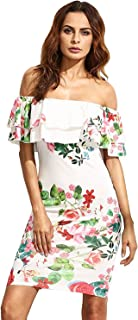 Floerns Women s Floral Ruffle Off Shoulder Party Sexy Bodycon Dress f4b6651415af