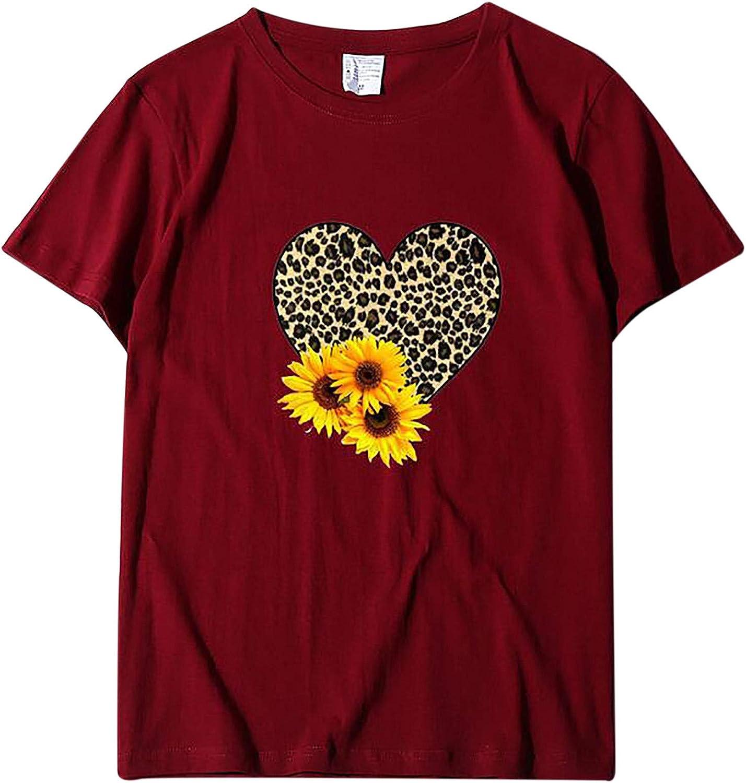 POLLYANNA KEONG Women Short Sleeve Tops,Women Valentines Day Shirt Love Heart Graphic T Shirt Plaid Leopard Print Casual Short Sleeve Top Wine Red