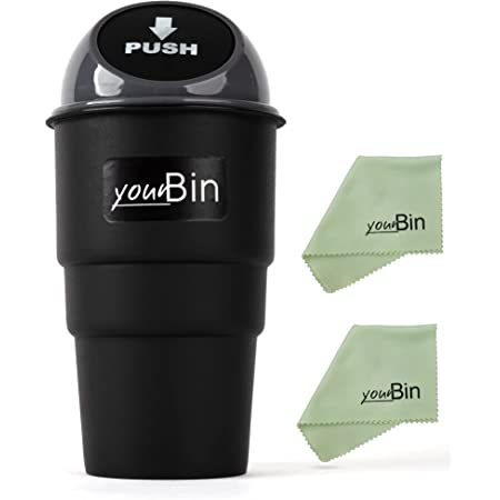 Car Dustbin with Lid - Portable Garbage Holder Trash Can Car Accessory - Mini Automotive Cup Holder Car Interior Trash Bins Storage for Cars, Home, Office Desk - 2 Extra Microfiber Cleaning Cloths