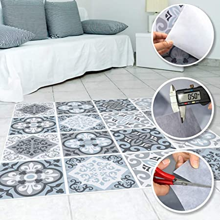 Peel and Sick PVC Wall Paper Stickers Tile Wall Floor Decals Easy to Clean