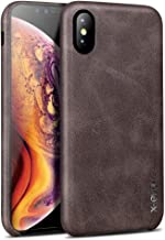 Case Compatible iPhone Xs and X, X-Level [Vintage Series] Premium PU Leather Slim Fit Ultra Light Soft Touch Protective Mobile Cell Phone Case Cover Compatible Apple iPhone Xs (2018)/X(2017)-Coffee