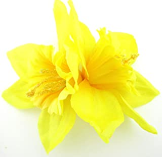 Double Yellow Daffodil Silk Flower Hair Clip with Teeth