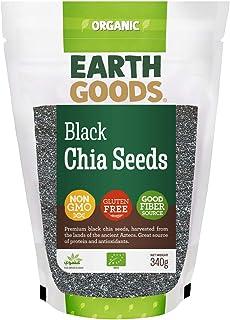Earth Goods Organic black Chia Seeds, NON-GMO, Gluten-Free, Good Fiber Source 340g