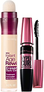 Maybelline New York Instant Age Rewind Concealer, Ivory, 6g and Maybelline New York Hypercurl Mascara Waterproof, Black, 9...