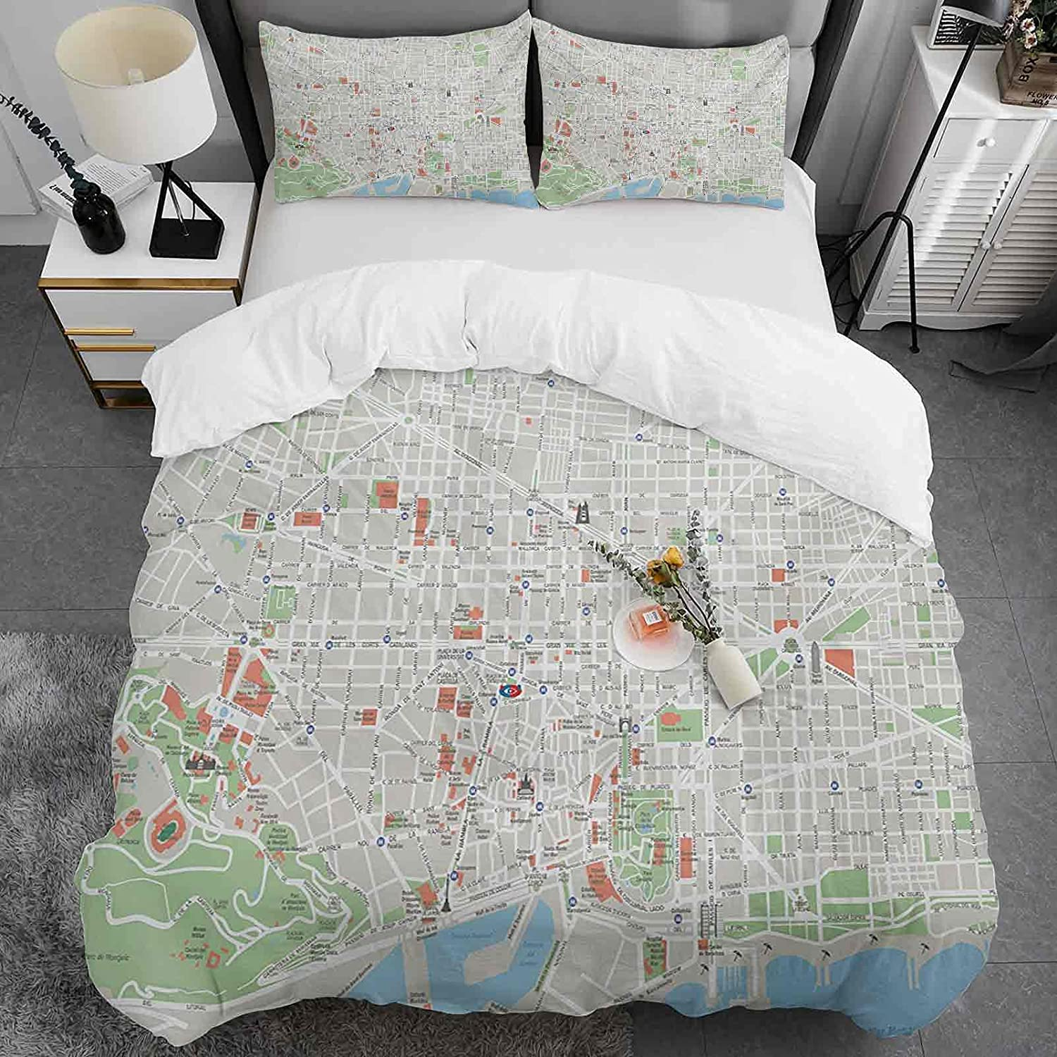 OFFicial site Map Duvet Max 58% OFF Cover Twin Size of Parks S City Barcelona Streets