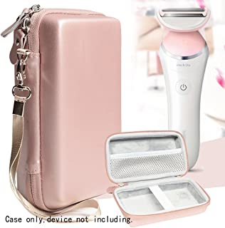 Women's Hair Remover case for Philips Satinelle, Satinelle Prestige BRE650; Deess Permanent Hair Removal, Flawless Legs Hair Removal, Braun Silk-epil 9 9-579, mesh Pocket, Wrist Strap, Rose Gold