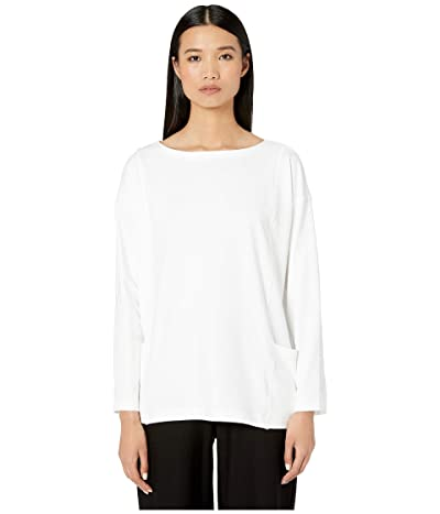 Eileen Fisher Organic Cotton Stretch Jersey Bateau Neck Top (White) Women
