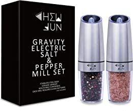 Gravity Electric Salt and Pepper Grinder Set with Adjustable Coarseness Automatic Pepper and Salt Mill Battery Powered wit...