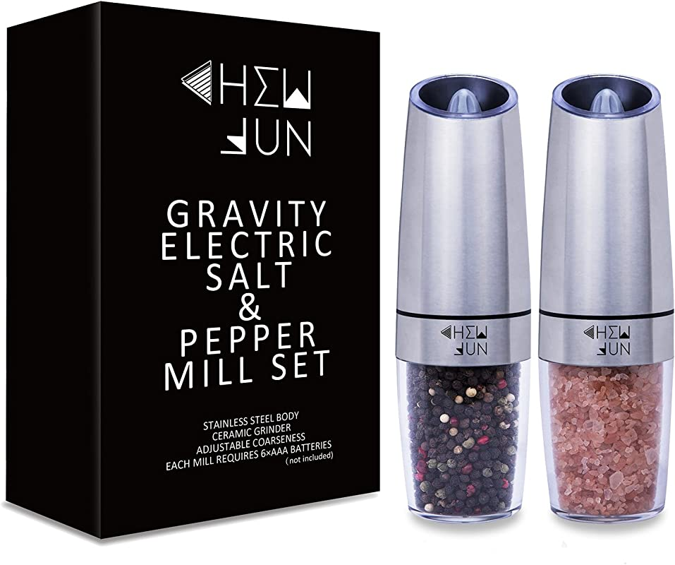 Gravity Electric Salt And Pepper Grinder Set With Adjustable Coarseness Automatic Pepper And Salt Mill Battery Powered With Blue LED Light One Hand Operated Brushed Stainless Steel By CHEW FUN