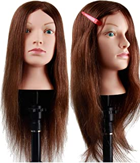 Kalyx Mannequin Head with 100% Human Hair 26 inches Long Real Hair Cosmetology Training Practice Manikin Head for Styling Braiding Doll Head (A02)