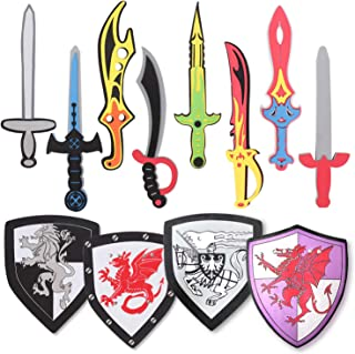 12 Pack Foam Swords and Shields Playset, Medieval Combat Ninja Warrior Weapons Costume Role Play Accessories for Kids Part...