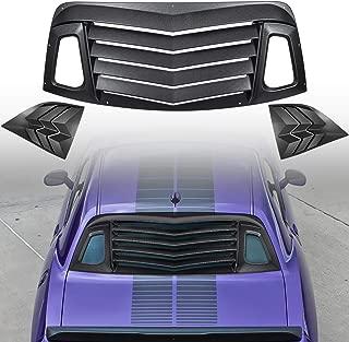 ECOTRIC Rear Window Louver Cover Vents Sun Shade ABS Fits 2013-2018 Scion FR-S Black Rain Sun Guard Wind Deflector Visors 2013-2017 Subaru BRZ