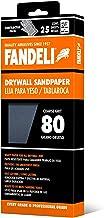 Fandeli 36571 080 hojas de papel de lija para yeso, 4-1/4 pulgadas x 11 pulgadas, 25 hojas