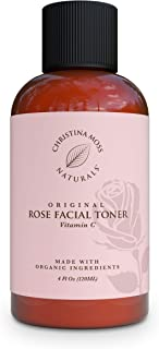 Rose Water Facial Toner - Face Toner - Witch Hazel - Organic & Natural Ingredients & Vitamin C, Skin Clearing, Tightens Pores, Hydrates, Restores pH. No Harmful Chemicals - Christina Moss Naturals 4oz