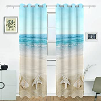 X166 H Cm CHNXXL Blackout Curtains Eyelet Thermal Insulated Polyester Fabric Super Soft 3D Sea,Coconut Tree Pattern 2 Panels For Living Room Bedroom Nursery Kids Room 150 W