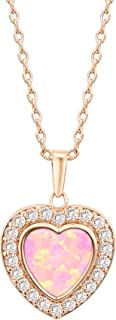 14k Gold Plated Brilliant Opal Necklace Moon Heart and Oval Shaped Pendant 18