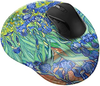 WIRESTER Irises Vincent Van Gogh Comfortable Wrist Support Mouse Pad for Home and Office with Matching Microfiber Cloth fo...