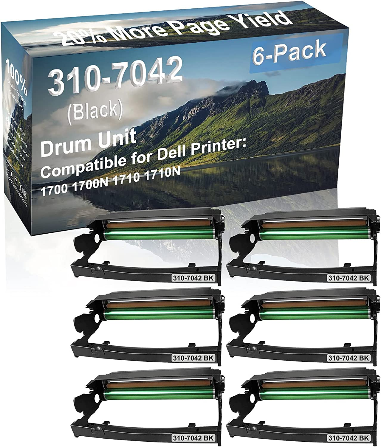 6-Pack (Black) Compatible 1700 1700N 1710 1710N Printer Drum Unit Replacement for Dell 310-7042 Drum Kit