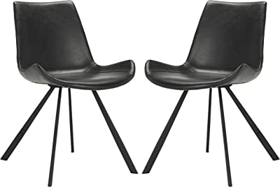 Safavieh Home Terra Mid-Century Modern Black Faux Leather and Black Dining Chair, Set of 2