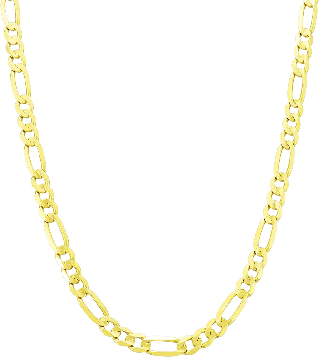 Nuragold 10k Yellow Gold 5.5mm Figaro Chain Link Pendant Necklace, Mens Womens Lobster Lock 18
