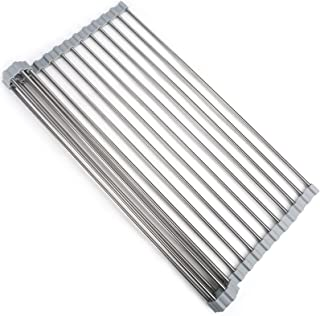 Roll-Up Dish Drying Rack Over The Sink, AJulyBee Multipurpose Dish Racks 17.7IN x 13.8IN Stainless Steel Sink Rack for Kit...