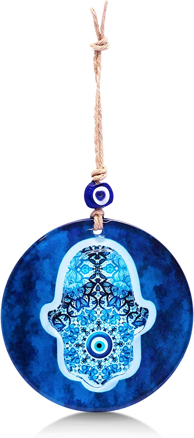 Max 42% OFF Blue Hamsa Hand Glass Wall Art to Your with Office Bless Ranking TOP11 or Home