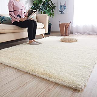 Noahas Ultra Soft Shaggy Area Rugs Fluffy Living Room Carpet Bedroom Fur Rug Anti-Skid Child Playing Mat Home Decor, 5.3 x 7.5 Feets Beige