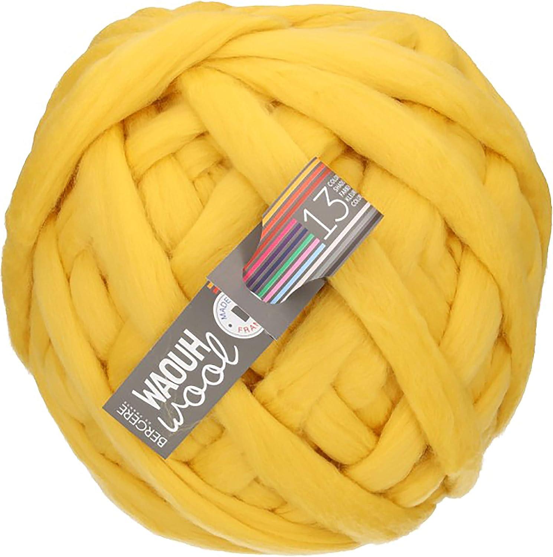 Bergere de France Wow Yarn, Wool Blends, Lemon, 23.114000000000001 x 23.114000000000001 x 0.076200000000000004 cm