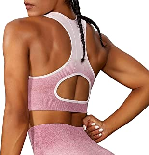 Sports Bra Seamless Top Yoga Ombre Racer Back Running Gym Crop Top Push Up Bra Sportswear Fitness Full Cup for Women