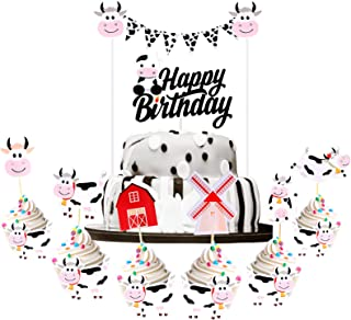 Zonon 32 Pieces Cow Theme Cake Decorations Include Cow Animal Themed Cake Toppers Happy Birthday Cow Cupcake Topper Pick C...