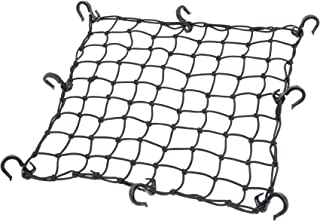Powertye 17inx 17in Cargo Net with 8 Adjustable Hooks and Extra -Tight 1.75in Mesh, Black