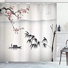 Ambesonne House Decor Collection, Chinese Waterscape Painting Artwork Print with Bamboo Sakura Trees Birds Boat River, Polyester Fabric Bathroom Shower Curtain, 75 Inches Long, Black Gray