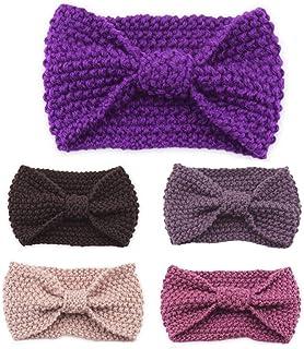 Beautiful crown 5 pezzi donne invernali all'uncinetto fascia a maglia a maglia con pulsanti di protezione dell'orecchio co...