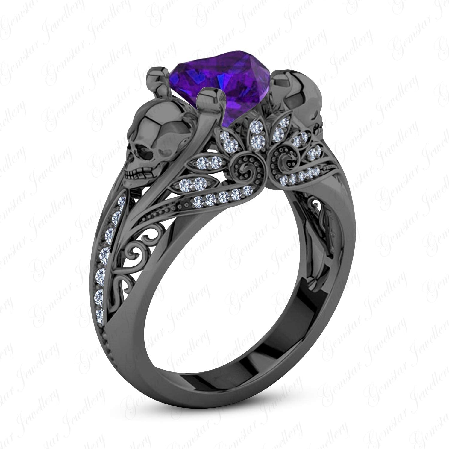 Gemstar Jewellery Exquisite Women's 925 Sterling Silver Skull Ring with Purple Amethyst Punk Jewelry
