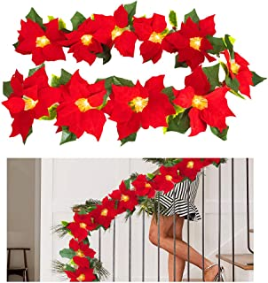 MACTING Christmas Garland with Lights, 6ft Christmas Poinsettia Light with Red Berries and Holly Leaves, LED Garland Lights Battery Operated Home Indoor Outdoor Decorations for Xmas New Year Holiday